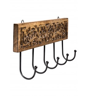 Fair Trade Hand Carved Wooden Malabar Vine Five Hook Coat Bag Wall Hanger