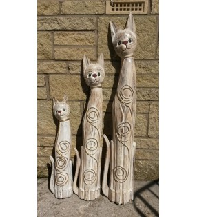 Fair Trade Wooden Painted Shabby Chic Whitewash Cat Statues