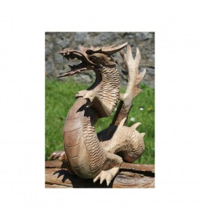 Fair trade Natural Wooden Standing Dragon Statue 20 Cm