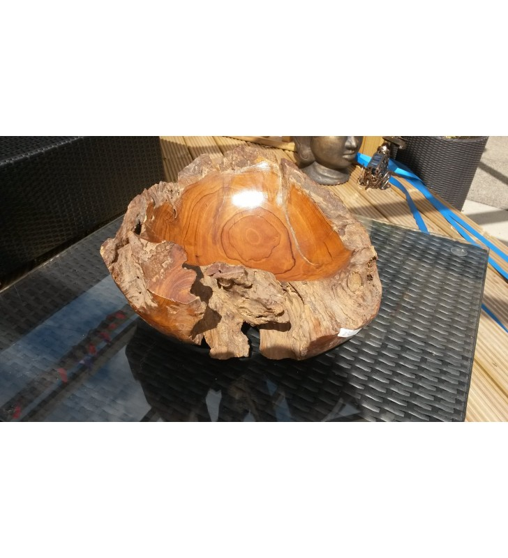 Stunning Large Fair Trade Hand Carved Teak Root Bowl C
