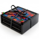 Set of Four Ethically Sourced Abstract Rainbow Mosaic Glass Coasters