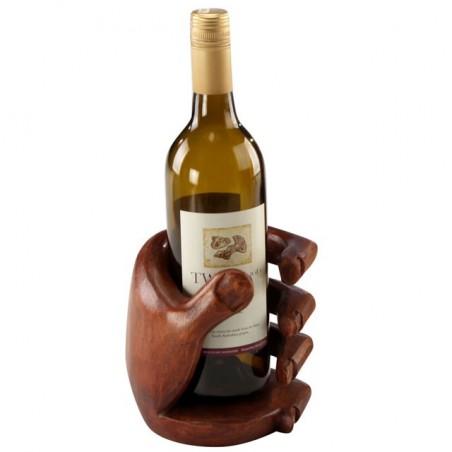Ethically Sourced Dark Wooden Hand Carved Wine Bottle Holder