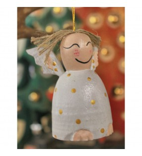 Set of Two Wooden Fair Trade Hanging Angel Christmas Decorations