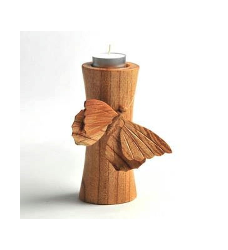 Fair Trade Wooden Hand Carved Butterfly Tea Light Holder