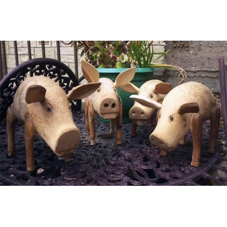 Fair Trade Hand Carved Bamboo Root and Teak Pigs.