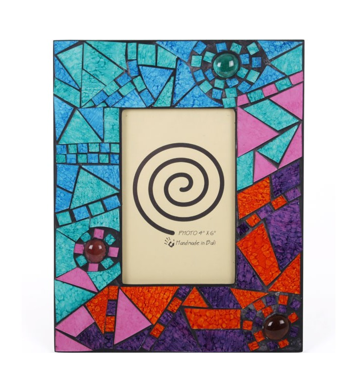 Stunning Ethically Sourced Abstract Rainbow Mosaic Glass Nuggets Picture Frame