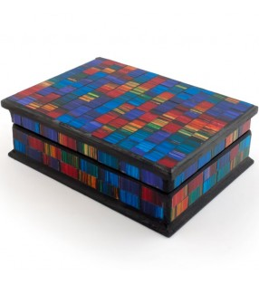 Stunning Ethically Sourced Rainbow Mosaic Glass Spectrum Jewellery Box