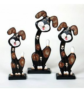 hand carved dog sculptures