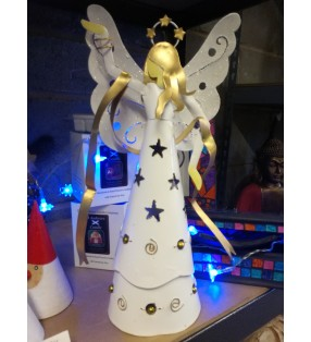 Fair trade Hand made White Metal Christmas Angel Statue T-light Holder