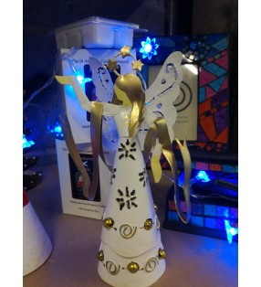 Fair Trade Hand Crafted Metal Angel Christmas Statue