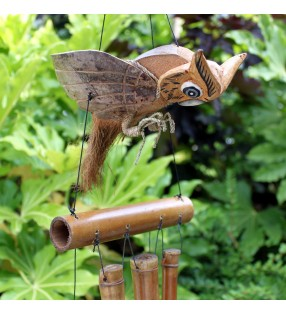 Ethically Sourced Bamboo Coconut Owl design Wind Chimes