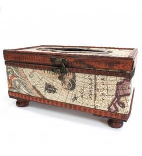 Wooden Hand Crafted Old Map Design Tissue Box