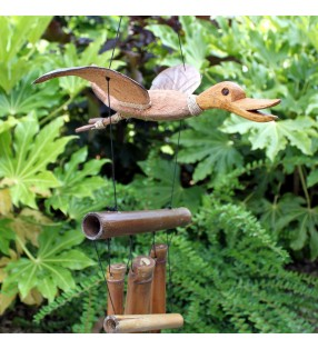 Ethically Sourced Bamboo Coconut Duck design Wind Chimes