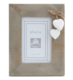 Picture Frame, Driftwood style with White wooden painted hearts.