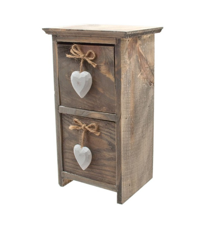 Ethically Sourced Shabby Chic Driftwood Drawers with White Hearts