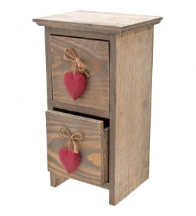 Ethically Sourced shabby chic driftwood drawers with red hearts