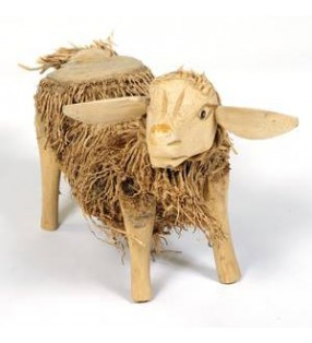 Large Fair Trade Bamboo Root and Teak Sheep