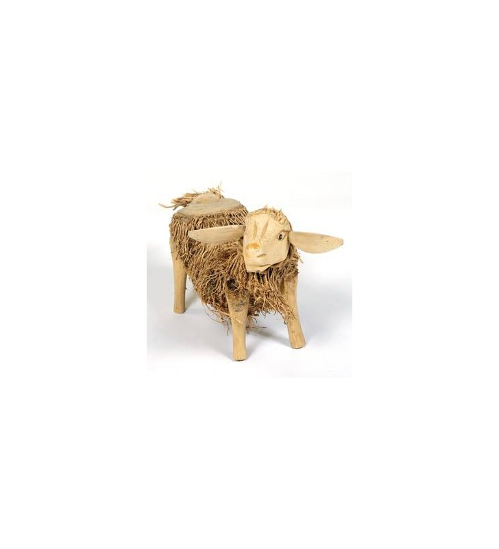 Large Fair Trade Bamboo Root and Teak Sheep