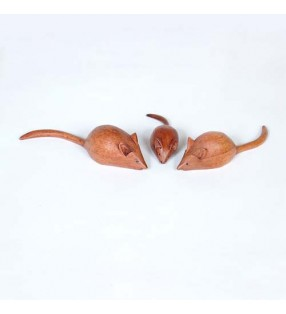Set of Three Fair Trade Wooden, Hand Carved Mice Family