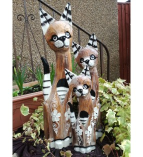 Set of Three Fair Trade Wooden Painted Shabby Chic Cats