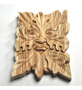 Wooden Fair Trade Hand Carved Green Man of the Forest Leaf Wall Plaque