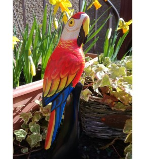 Tall Fair Trade Wooden Hand Carved Painted Parrot Macaw Statue