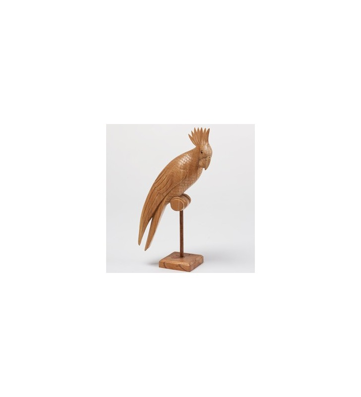 Fair Trade Wooden Carved Natural Cockatoo Statue