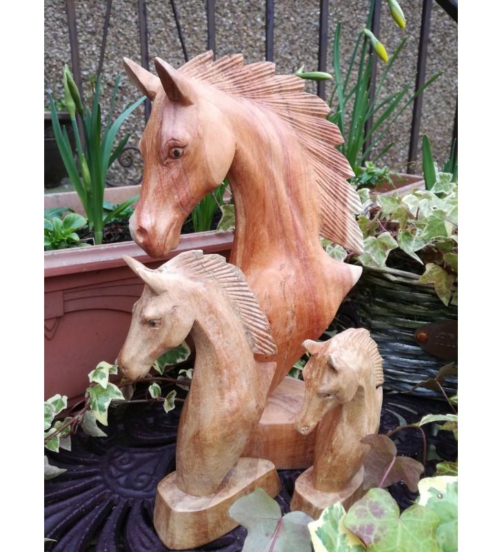 Fair Trade Natural Wooden Carved Horse Head Statue 30 cm, 20 cm,15 cm