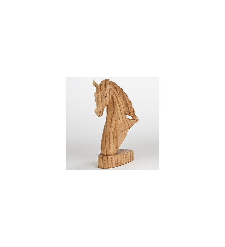Fair Trade Natural Wooden Carved Horse Head Statue 30 cm