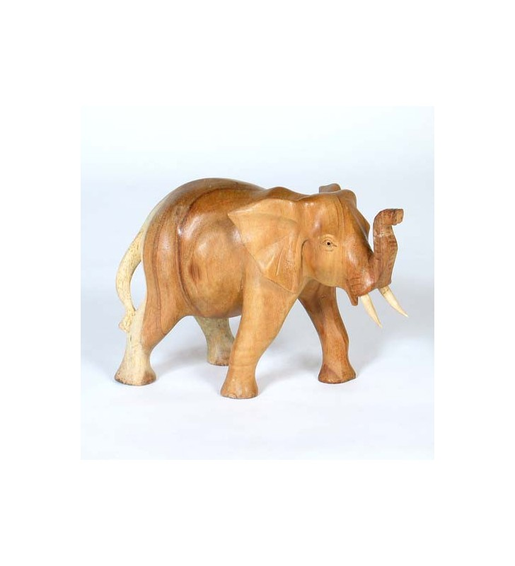 Fair Trade Wooden Hand Carved Walking Elephant Statues