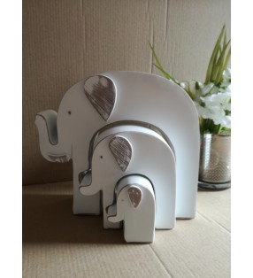 Set of Three Wooden Ethically Sourced White Elephant Statues