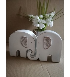 Set of Two Wooden Ethically Sourced Entwined White Elephant Statues