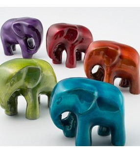 Fair Trade High Gloss Elephant in Foil Enamel Recycled Aluminium Large