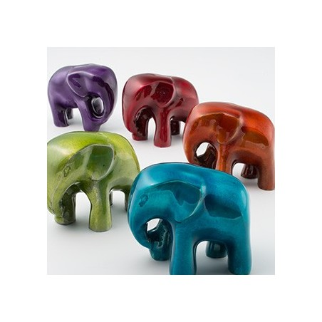 Fair Trade High Gloss Elephant in Foil Enamel Recycled Aluminium