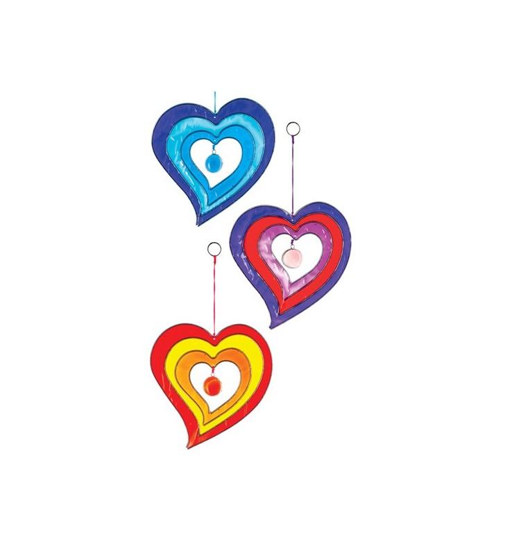 Windhorse Ethically Sourced Colourful Acrylic Single Heart Suncatcher