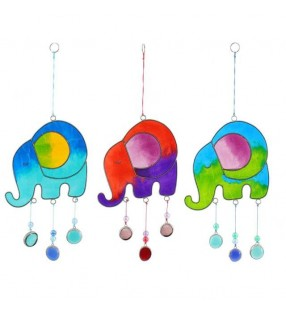 Ethically Sourced Coloured Resin Beaded Elephant Suncatcher