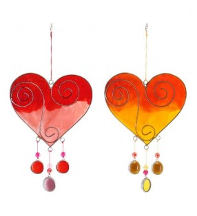 Ethically Sourced Colourful Acrylic Single Heart Beaded Suncatcher