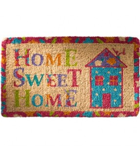 "Colourful Fair Trade ""Home Sweet Home"" Coconut Fibre Coir doormat"