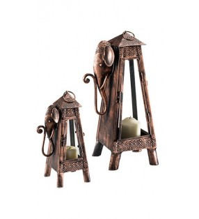 Tall Fair Trade Iron Elephant Design Lantern
