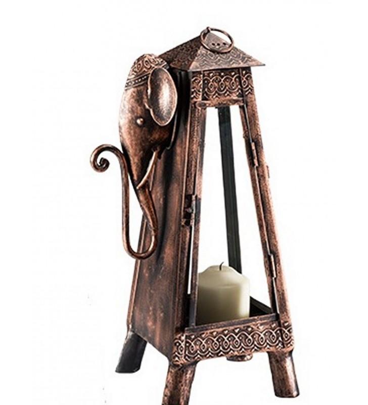 Tall Fair Trade Iron Elephant Design Lantern