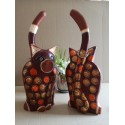 Wooden Fair Trade Hand Painted Long Tailed Cat Statues