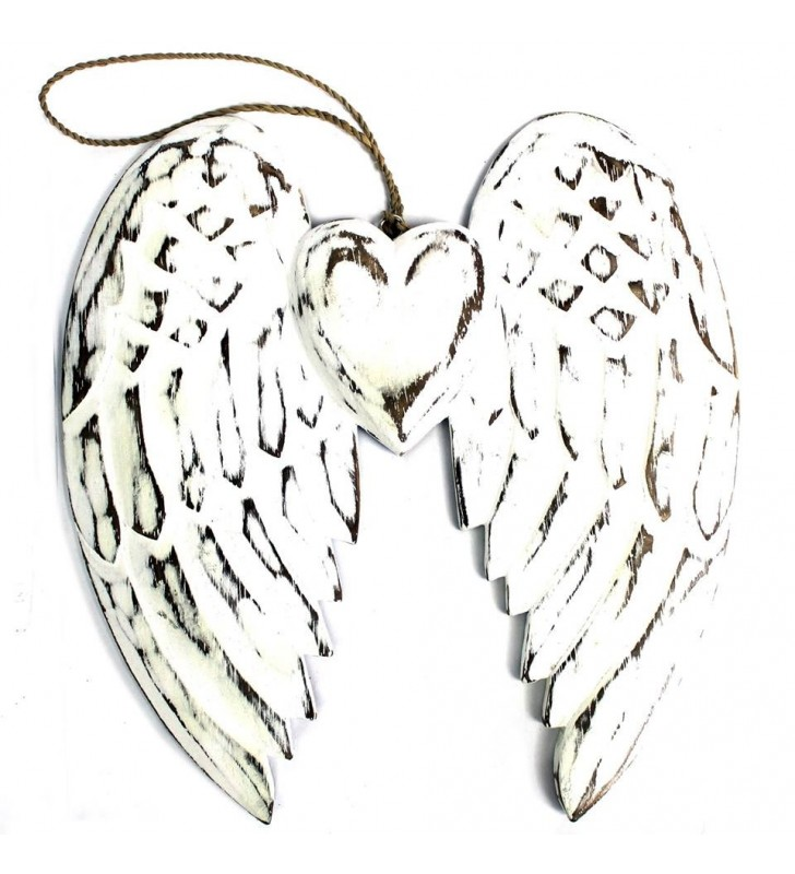 Beautiful Ethically Sourced Hand Crafted Wooden Double Angel Wing & Heart.