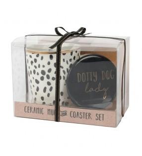 Dotty Dog Lady Ceramic Mug and Coaster Set