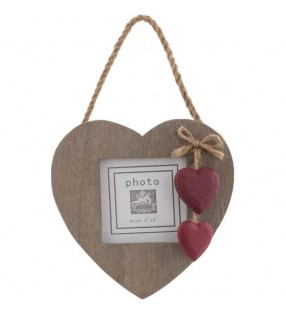 Picture Frame, Driftwood style with Red wooden painted hearts.