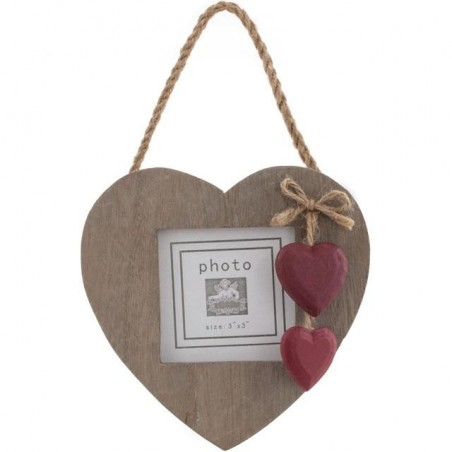 Windhorse Ethically Sourced Driftwood Style Picture Frame with Red wooden painted hearts.