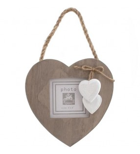 Windhorse Ethically Sourced Driftwood Style Picture Frame with White wooden painted hearts.