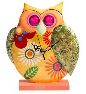 Colourful Funky Metal Fair Trade Owl Clock on Stand