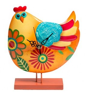 Colourful Funky Metal Fair Trade Hen Clock on Stand
