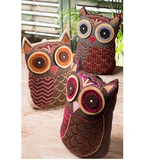 Colourful Fair Trade Tweed Applique Owl Door Stopper