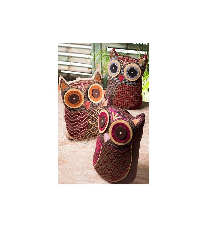 Colourful Fair Trade Tweed Applique Owl Door Stopper